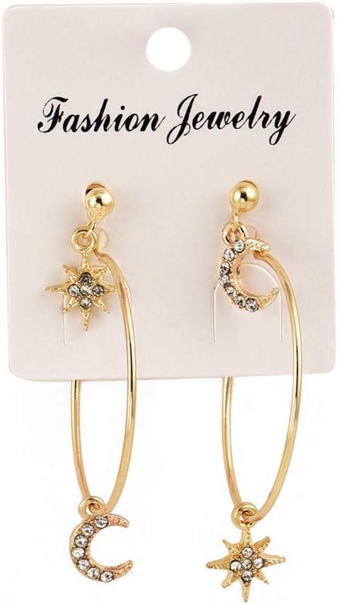 Ranking TOP15 DearAnswer 4 Pcs Star Moon Topics on TV Circ Diamond Studs Geometric Earrings