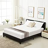 mecor Black Full Size Bed Frame with Headboard/Faux Leather Upholstered Panel Bonded Platform Bed/for Kids Boys Girls Adults/Strong Wood Slat Support, No Box Spring Needed - Black/Full
