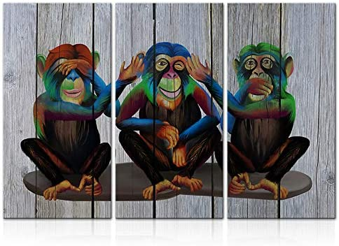 LoveHouse 3 Pieces Funny Gorilla Wall Art Modern Monkey Animal Canvas Print Wooden Background product image