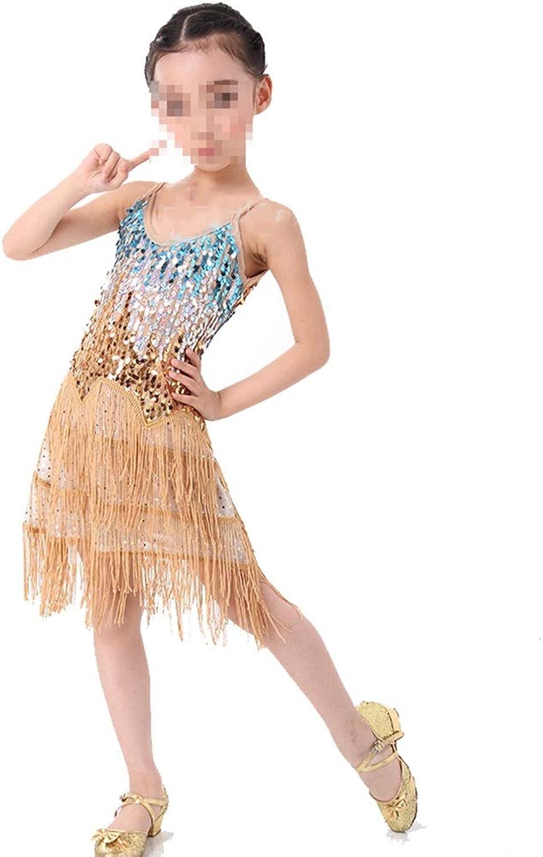 Tango Tanzkleid Outfits Mädchen Latin Dance Dress Dress Dress Kinder Kinder Pailletten Fransen Bühnen Performance Wettbewerb Ballroom Dance Kostüm (Farbe   Gold, Größe   M) B07PK7H9TW  Billig ideal 4ef67b