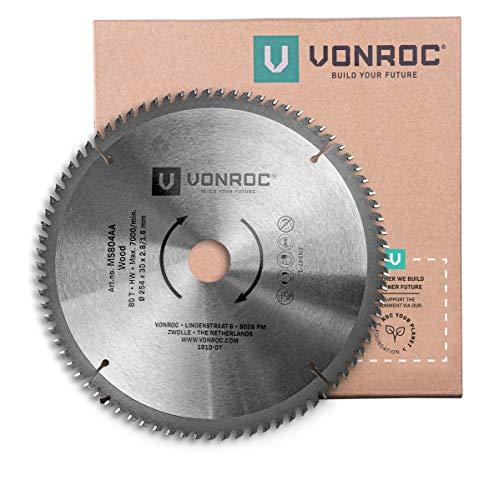 VONROC Lama per troncatrici e seghe da tavolo universale Ø254mm - 80 denti, 254 x 30mm