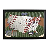 Push Pin Travel Maps Personalized Baseball Adventures with Black Frame and Pins - 27.5 inches x…