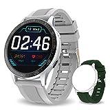 Bebinca Smartwatch Full-round Color Display, Fitness Tracker con Cardiofrequenzimetro&Pressione sanguigna Notifiche Messaggi, IP68 Impermeabile, Batteria Ultra lunga DIY watchface (Argento)