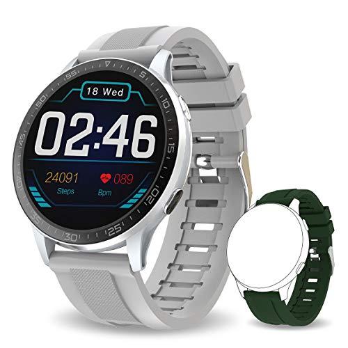 Bebinca Smartwatch Full-Touch Color Display, Reloj Inteligente con Monitor de frecuencia cardíaca &presión Arterial,Notificaciones Facebook/Whtasapp,IP67 Impermeable,Batería Ultra Larga (Plata)