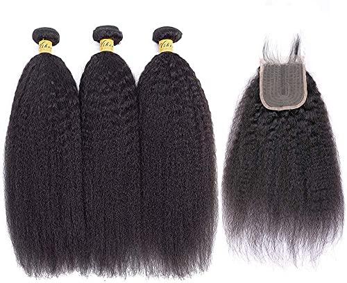 BLISSHAIR Kinky Straight Hair 3 Bundles with Closure Yaki Stragiht Human...