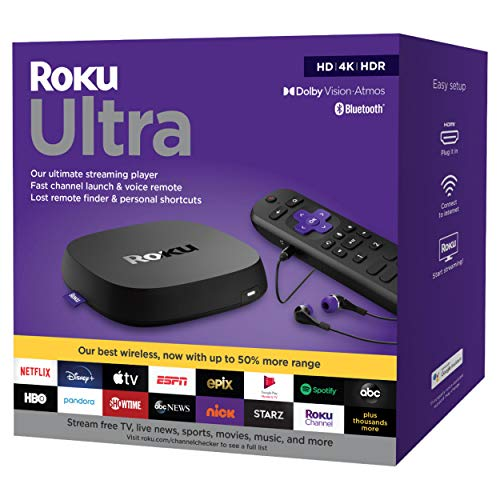Newest Roku Ultra Streaming Media Player 4K/HD/HDR and Voice Remote with Headphone Jack and Personal Shortcuts, TV Controls - USB 3.0, Bluetooth, 802.11ac WiFi - Black - USB Extension Cable. Buy it now for 169.99