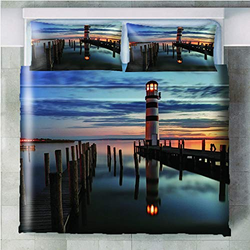 GenericBrands 3 piece bedding set Sunset sea lighthouse - 140x200cm(55x79 inch) 3 Pieces Bedding Set with 2 Pillowcases Duvet Cover with Zipper Closure Soft Microfiber Quilt Cover