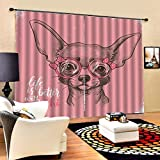 HomeAZWQ Cortinas Opacas para El Dormitorio Perro De Dibujos Animados Lindo con Efecto De Impresión 3D Cortinas Térmicas Aisladas H245 X W220cm