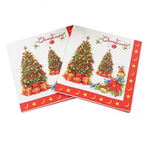 Toyvian 20 piezas servilletas impresas desechables suministros para fiestas de árbol de navidad servilletas de...