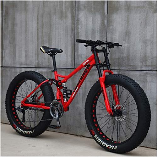 NENGGE Hard Tail Bicicleta Montaña Neumático Gordo 24 Pulgadas Full Suspension MTB Ciclismo con Doble Freno Disco, Marco De Acero De Alto Carbono, Hombre & Mujer,Rojo,21 Speed