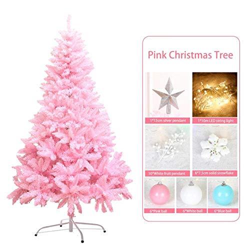 FENGZHO 1 2 M kersenbloesem roze kerstboom decoratie Deluxe versleutelde kerstboom geschenken met LED-verlichting kleurrijke bal decor
