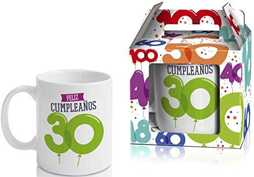 Taza Cerámica para Desayuno en Color Blanco de 300 ml, Un Regalo Original para Aniversarios - Feliz 30 Cumpleaños