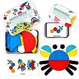 StillCool Tangram Madera, 36 PZS Tangram Puzzle Montessori con 60 Tarjetas de Diseño Animales Planta...