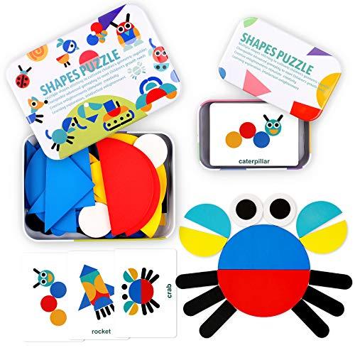 StillCool Tangram Madera, 36 PZS Tangram Puzzle Montessori con 60 Tarjetas de Diseño Animales Plantas Coches Cohete, Juguetes Educativos para Niños Mayores de 2 Años - Colores