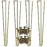 YuBao Haarnadelbeine Set für 4 Gold Leicht zu montierende Metallbeine für Möbel - Moderne Mid-Century Beine für Couch- und Beistelltische, Stühle, Heimwerkerprojekte