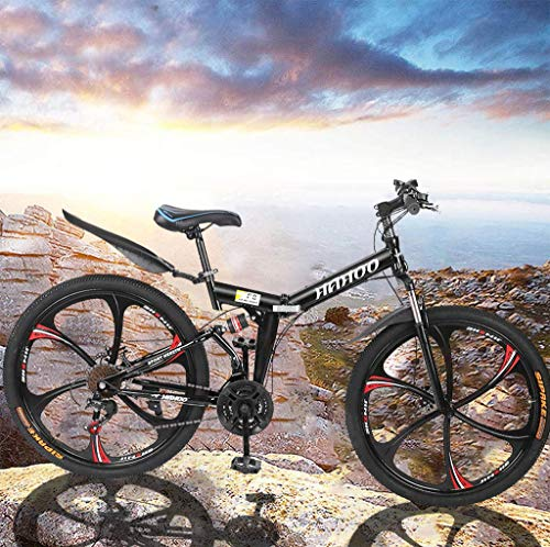 VANP 26 Inch Folding Mountain Bike with 21 Speed   Adults Bicycle Mountain Bike for Women Men   Dual Disc Brakes Full Suspension Non-Slip [US in Stock]