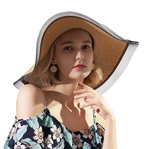 ZZCC Women's Foldable Wide-brimmed Beach Hat Summer Sun Beach Hat