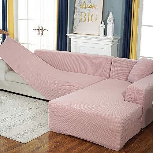 Funda elástica para sofá de algodón, Funda elástica con Todo Incluido, Funda para sofá, Toalla, Funda para sofá para Sala de Estar, Rosa 190-230cm