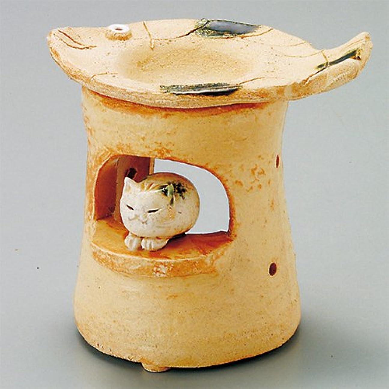 塗抹満足できる人口島ねこ 島ねこ 茶香炉 [12x8.5xH11.5cm] HANDMADE プレゼント ギフト 和食器 かわいい インテリア