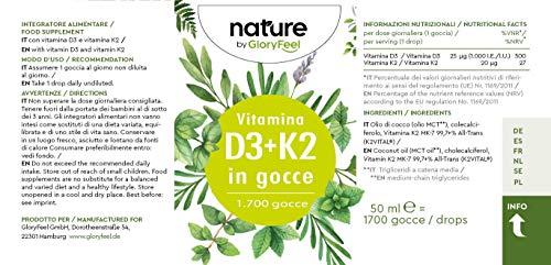 Vitamina D3 K2 50ml in Gocce, Vitamina D3 Colecalciferolo 1000 UI per Goccia + Vitamina K2 MK-7 Menachinone Kappa 99,7%, Integratore Naturale in Gocce con Pipetta Dosagocce, Integratore Vitamin D