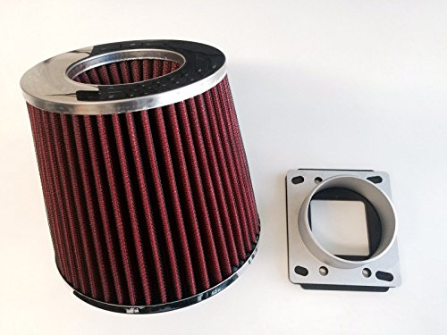 Air Intake Cone Filter + MAF Sensor Adapter For 1984-1991 BMW E30 3-Series (318/325/M3) (Red)