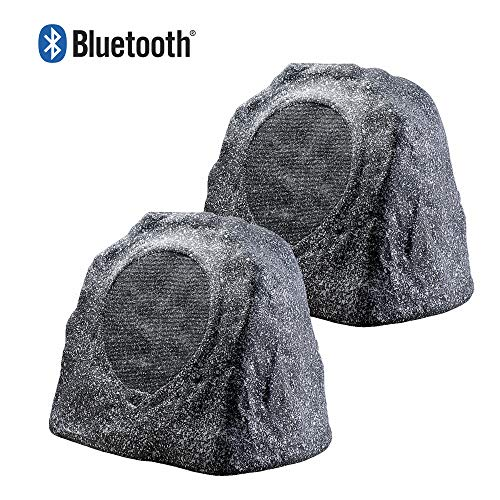 OSD Audio 8' 100W Bluetooth Outdoor Rock Speaker - Water Resistant, Pair, Granite Grey - BTR805