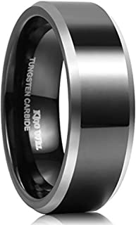King Will CLASSIC 8mm Black Tungsten Carbide Ring Two Tone Men Wedding Band High Polished Comfort Fit