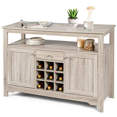 Giantex Buffet Server Sideboard, Console Table, Wood Dining Table, Cupboard Table with 2 Cabinets, 1 Drawer and 9 Wine Cabinets, Storage Organizer Kitchen and Dining Room (Gray)