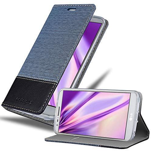 Cadorabo Hülle für LG G2 Mini in DUNKEL BLAU SCHWARZ - Handyhülle mit Magnetverschluss, Standfunktion & Kartenfach - Hülle Cover Schutzhülle Etui Tasche Book Klapp Style