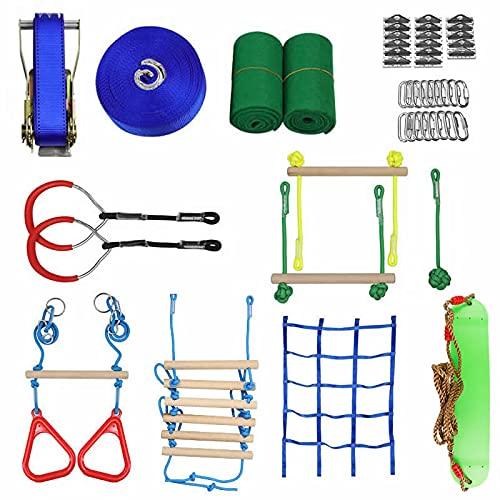 IDWX Carrera De ObstáCulos Ninja Warrior Ninja Slackline Varios Accesorios como Red De ObstáCulos Oscilantes Kit De Anillos De Gimnasio Escalera De Cuerda
