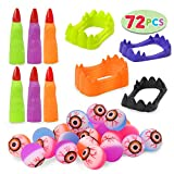 72 Pcs Halloween Game Toy Gifts-Scary Eyeballs, Witch Fingers and Vampire Teeth Set for Kids Halloween Party Favors Trick or Treat, Halloween Gift Exchange, Carnival Game Prizes