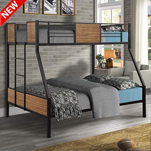 DANGRUUT Upgraded Version Thicken Twin-Over-Full Bunk Bed, Best Modern Style Metal Steel Bed Frame with Safety Rail and Ladder for Bedroom, Dorm, Boys, Girls, Adults (Twin-Over-Full)