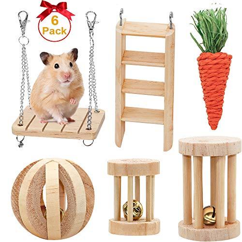 FASTER Kauspielzeug für Kleine Tiere, 6-teiliges Hamster-Haustiere Kaninchen Spielzeug Natürliche Holz, Rennmaus, Ratte, Meerschweinchen, Chinchilla, Wippe, Kletterständer, Zahnpflege, Molar Spielzeug