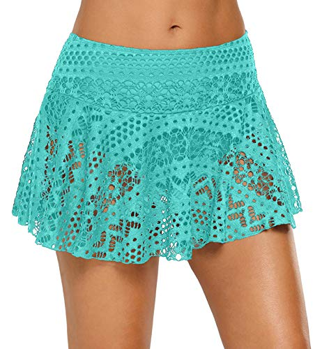 iClosam Falda de Baño Mujer, Shorts de Baño Corta Bikini de Encaje B