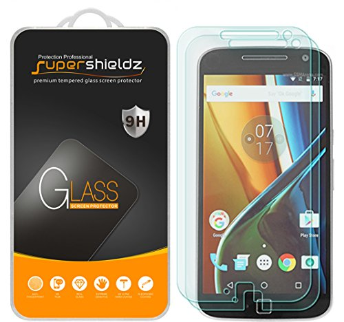 (2 Pack) Supershieldz for Motorola Moto G4 Plus and Moto G Plus (4th Generation) Tempered Glass Screen Protector, Anti Scratch, Bubble Free