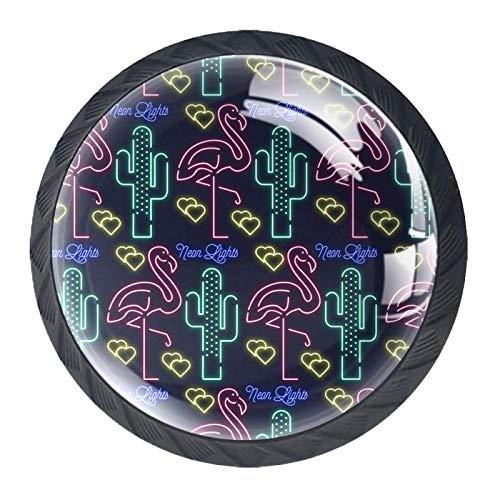 Juego de 4 pomos de armario de cocina de 3,18 cm, pomos de cristal para cajones con kit de herramientas para muebles de dormitorio, cocina, patrón de elementos de cactus de flamencos y flamencos.