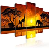5 Piece Giraffe Canvas Wall Art African Landscape Sunset Tree Print Painting Home Decor Modern Animal Elephant Artwork for Living Room Framed and Ready to hang (Savanna - sunset, 40'x 20')