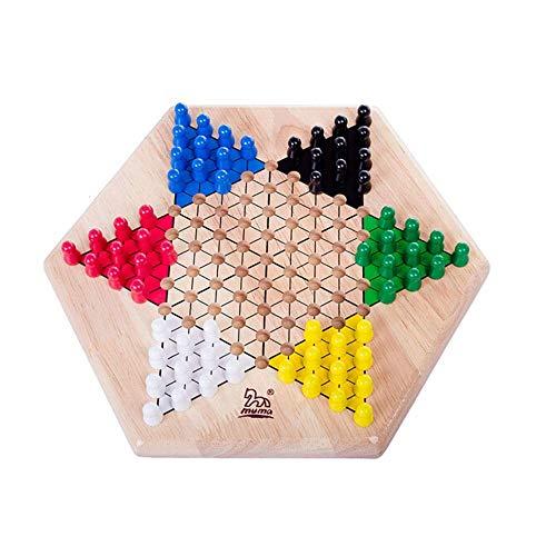 WEIFAN CAI-Chinese Checkers, Tischspiele für jedermann, Sechs-Spieler-Spiel, sechseckiges Brettspiel, 66 Schachfiguren (32,5 x 29,5 x 5 cm)