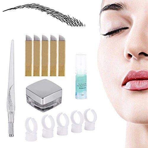 Accessori per Tatuaggi, Aghi trucco Permanente 3D Perni Pigment Kit Sopracciglia Microblading Pen e Pigmento del Tatuaggio e Anelli e Manuale pin e Ey