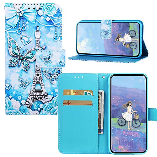 JZ Painting Phone Funda For para iPhone 8 Plus / 7 Plus / 6S Plus / 6 Plus PU Leather Wallet Flip Cover - Butterfly and Tower