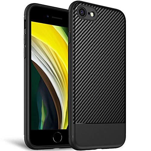 Fitsu Elegante Handyhülle im Carbon Design für iPhone SE 2020, 8 und 7 | Smartphone Hülle mit erhöhten Kanten für zusätzlichen Display und Kamera Schutz | Stylische Case in Schwarz