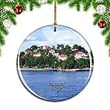 Weekinoスウェーデン南ヨーテボリ群島ヨーテボリクリスマスデコレーションオーナメントクリスマスツリーペンダントデコレーションシティトラベルお土産コレクション磁器2.85インチ