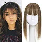Elailite Protesi Donna Clip Hair Topper Capelli Veri con Frangia Extension Human Hair Indiani 10cm*12cm Silk Lace Toupet Toupee 30cm 40g #6 Castano
