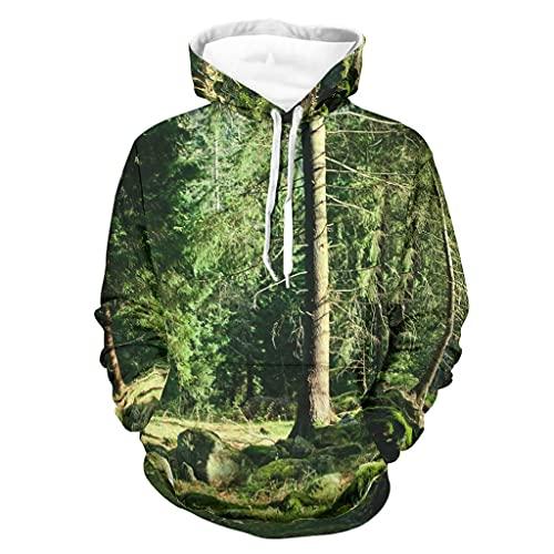 Niersensea Sudadera con capucha para niña con diseño de árboles, color blanco, XL