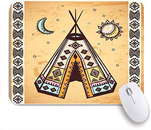 SUHOM Gaming Mouse Pad Rutschfeste Gummibasis,Ethnisches Zelt mit alten Symbolen Kulturelles einzigartiges böhmisches Freigeistdesign,für Computer Laptop Office Desk,240 x 200mm