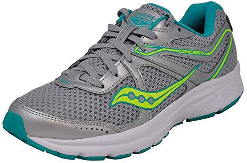 Saucony Women's Cohesion 11 Grey/Citron Running Shoe 8 M US