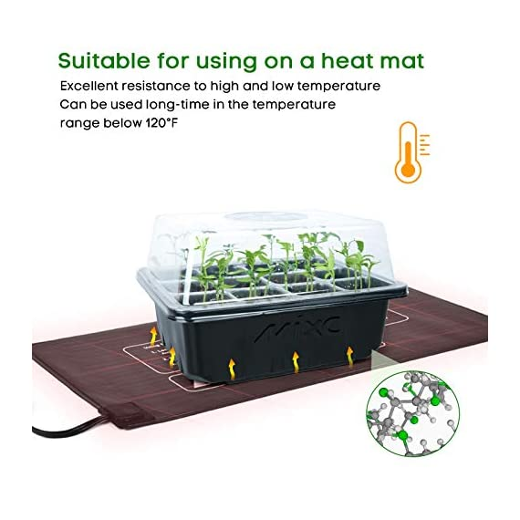 """Mixc 120 cells seed trays seedling starter tray humidity adjustable plant starting kit with dome and base greenhouse… 2 keep an eye on your growth: the only design in the market- high quality clear plastic trays of this seed grow kit make it easy to observe your plants without interrupting the process total control: adjustable vents of this seed trays allow you to regulate the temperature and humidity of your seedling environment, so you have total control over the growing process perfect size for seed starting: size of the cells: 1. 5""""in length and 1. 5""""in wide, these seed trays are suitable for small seeds, such as flowers, vegetables, fruits, tobacco and other plants."""