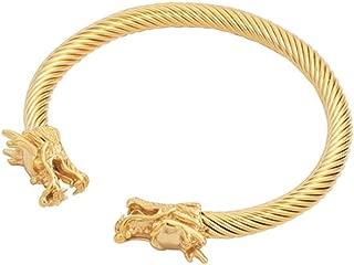 Viking Boys Mens Cuff Silver Gold China Dragon Bangle Bracelet