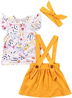 snowvirtuosau 3pcs/Set Cute Kids Girls Flower Sleeveless Tops Sling Skirt Dress Headband