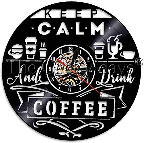Wwbqcl Café mantener la calma y beber café decoración iluminación vinilo registro reloj de pared diferentes bebidas moderna lámpara de pared